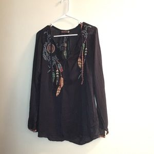 Johnny was navy embroidered feather blouse S